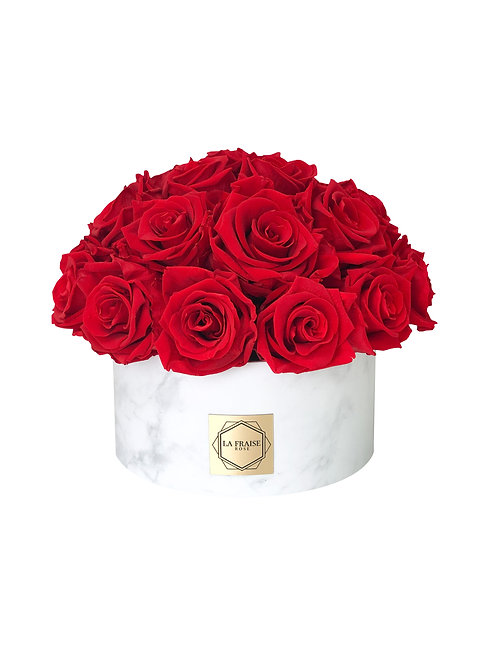 white marble rose dome bucket red preserved vancouver front view