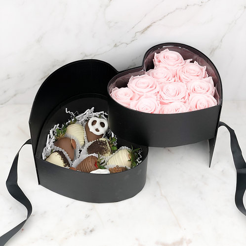 Black Heart Surprise Chocolate Strawberry Rose Box front
