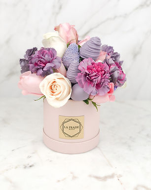 purple pink mix chocolate strawberry rose bucket vancouver BC