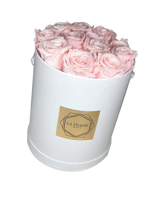 classic baby pink preserved rose bucket vancouver top front