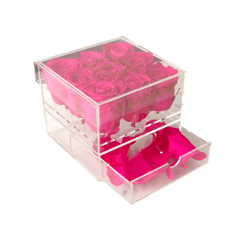 9 rose acrylic box front view drawer