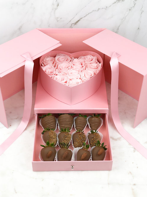 Pink Heart Square Surprise Chocolate Strawberry Rose Box front