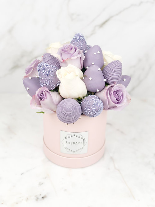 purple dream chocolate strawberry rose bouquet front