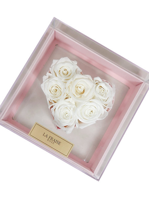 forever heart acrylic box pink preserved rose vancouver front