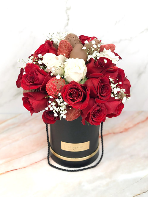 Red Chocolate Strawberry Rose Dome front view