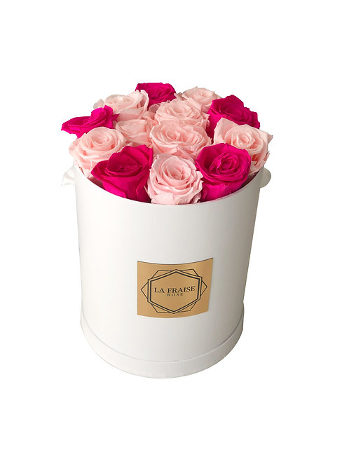 classic pink mix rose bucket preserved vancouver front view