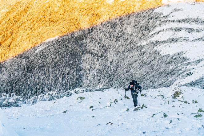 Climbing above the Alpenglow, Mount Eisenhower, White Mountains, NH