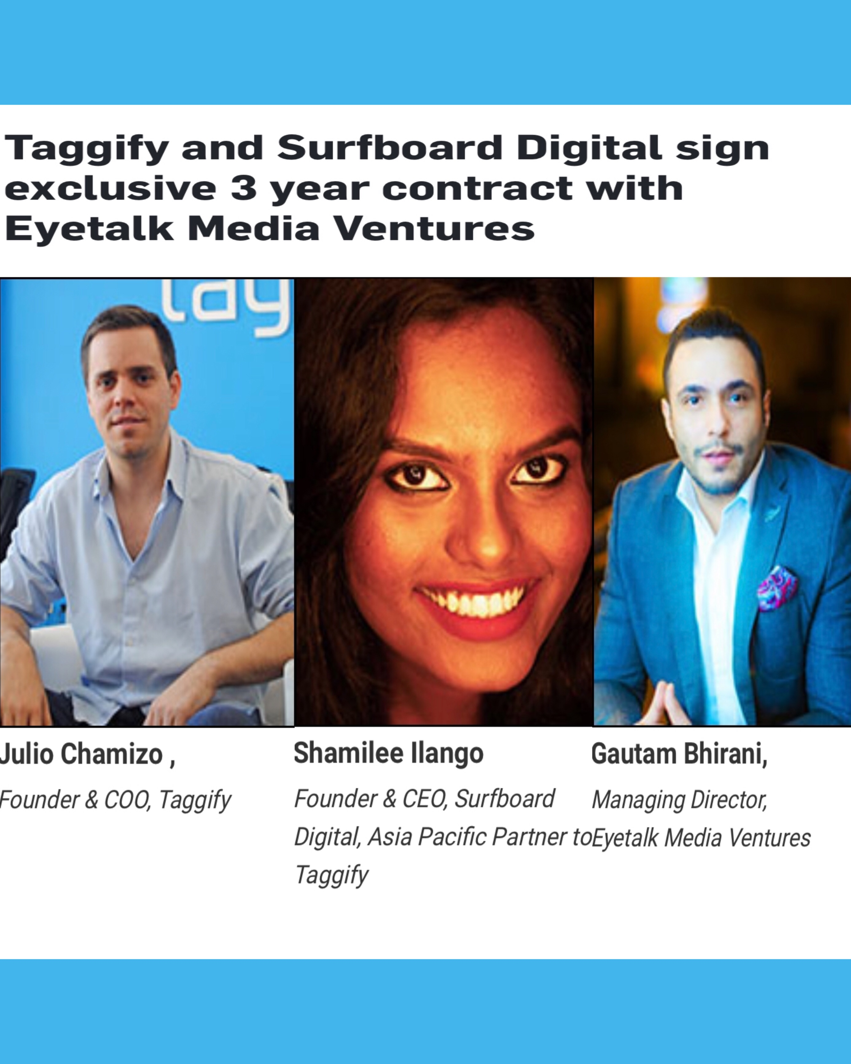 Taggify and Surfboard Digital sign exclusive 3 year contract with Eyetalk Media Ventures