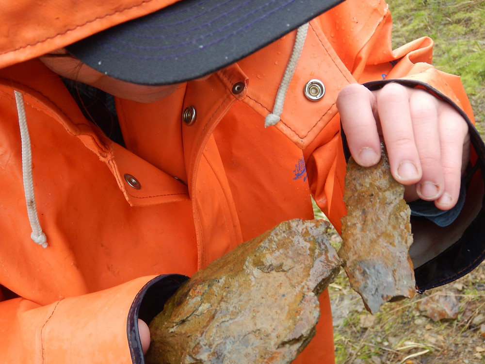 Figure 2: Megan Schindler inspects some roadside schist with embedded sand-sized garnets. 2019.