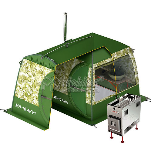 All-Season Sauna MB-10 + Additional second layer tent + Mediana Stove + Window