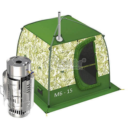 Portable Mobile Sauna Tent Mobiba MB-15 (4-5 pers.) + Wood Heater The SteamBomb