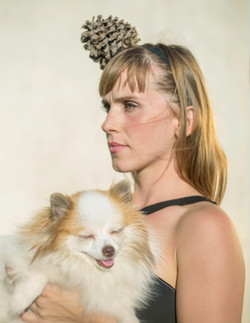 female model with dog outdoors
