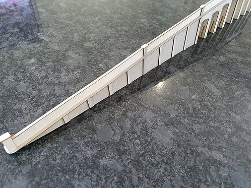 Laser cut parts for Scalescenes Arched retaining wall ramp section..