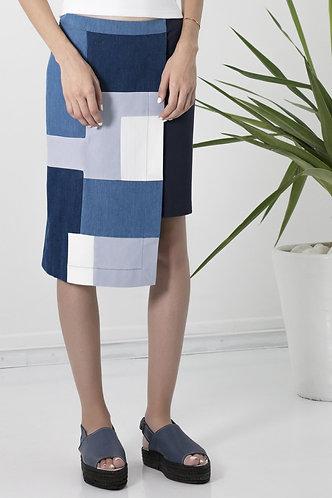 jupe asymétrique patchwork