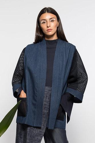 veste kimono jean et néoprène