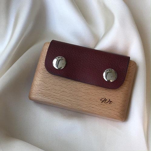 porte-cartes bois cuir