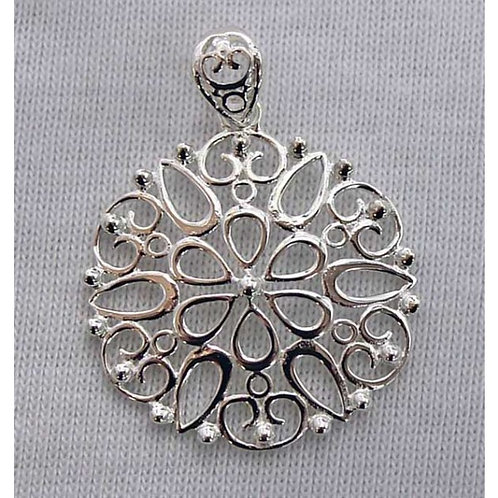 Southern Gates Round Glower Filigree Pendant