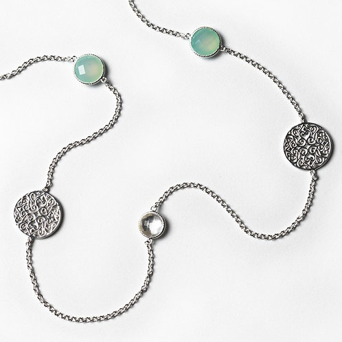 Southern Gates Sterling Silver & Chalcedony Necklace