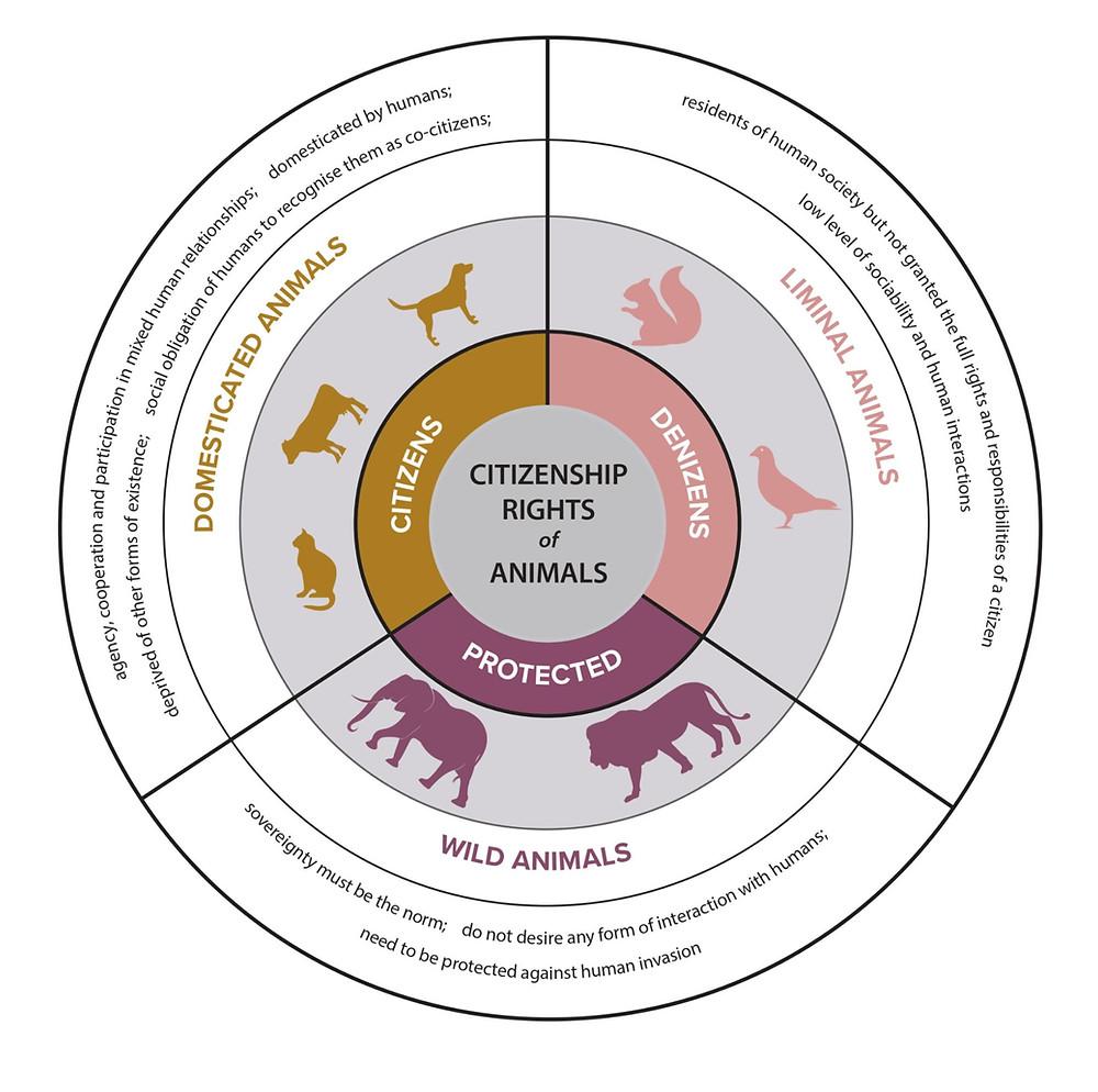 Citizenship rights of animals according to Donaldson and Kymlicka (2011)