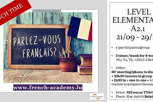 Cours élémentaire Group A2.1 sept/oct 2020