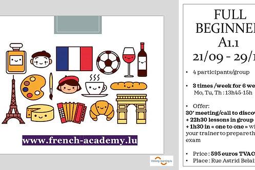 Cours débutant Group A1.1 sept/oct 2020