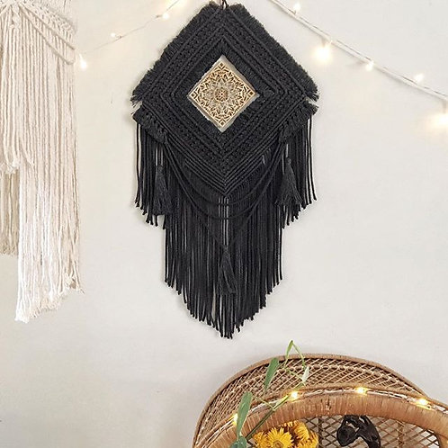 Macrame Wall Hanging   Black wall hanging   Mandala