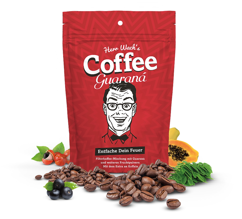 Herr Wach, Coffee Guaraná, Kaffee, Wachmacher, Guarana, Moringa, Lucuma, Superfoods, Acai