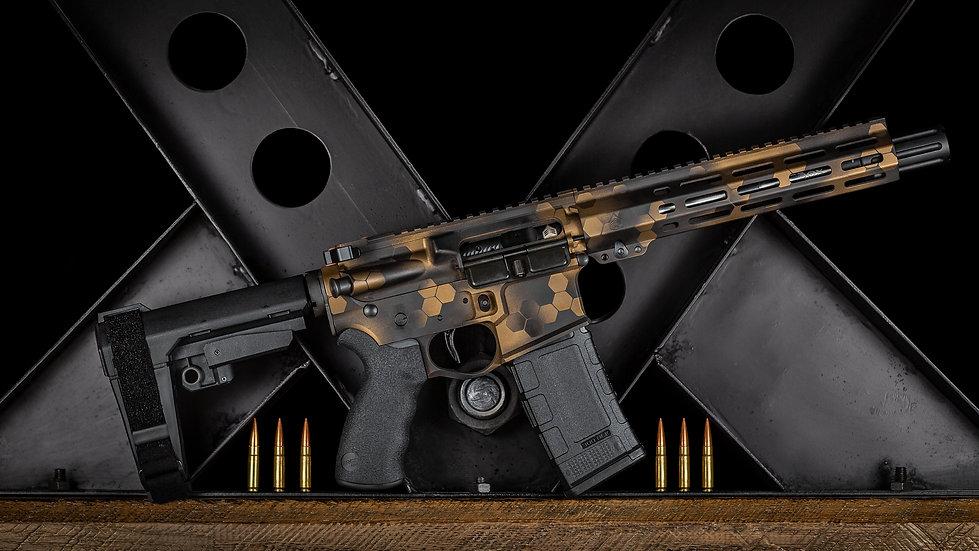 Custom ar15, cerakote, pistol ar, ergo, sba3