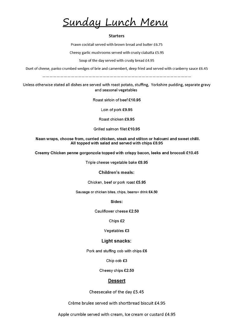takeaway sunday lunch menu 27.9.20 pic .