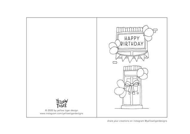 birthday at home colouring sheet