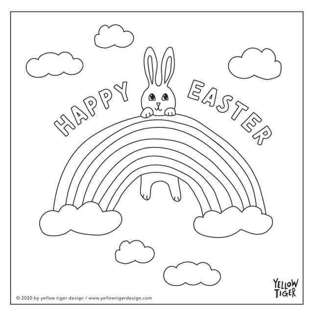 easter bunny rainbow colouring sheet