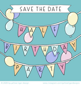 yellow tiger - save the date half birthday party
