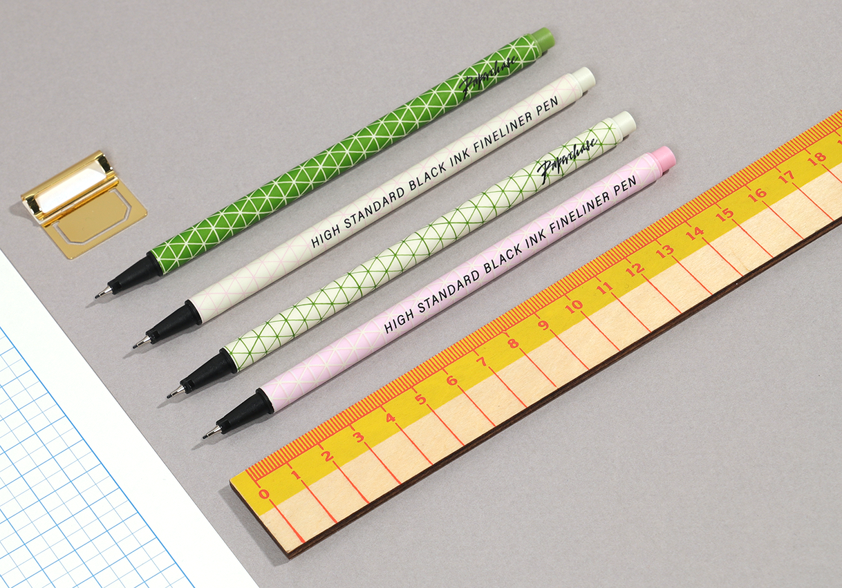 fineliner pens and ruler design