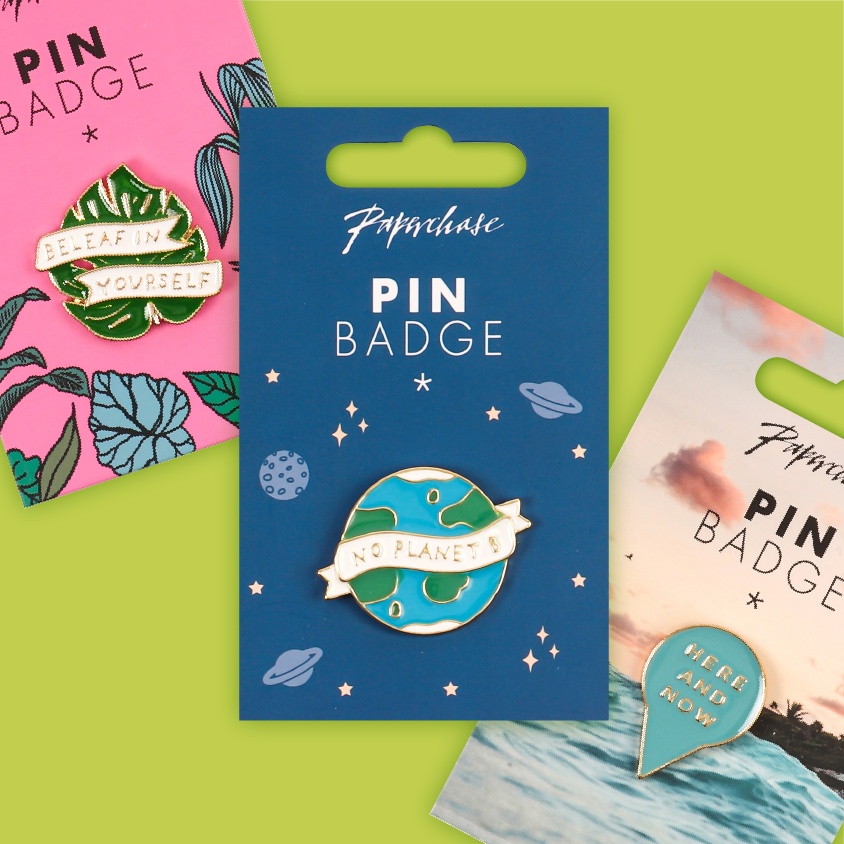 SS20 Paperchase pin badges