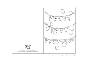 half birthday card colouring sheet