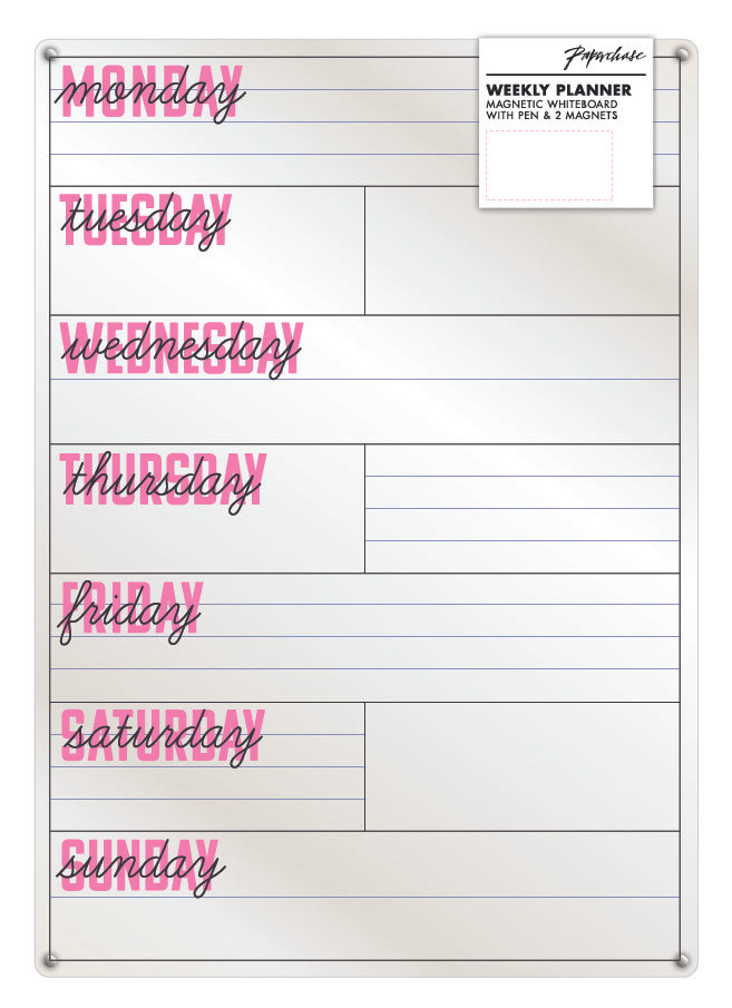 Paperchase AW19 decorate your dorm - glass magnetic weekly planner
