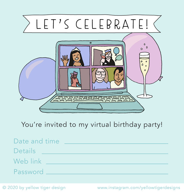 yellow tiger - virtual party invite template