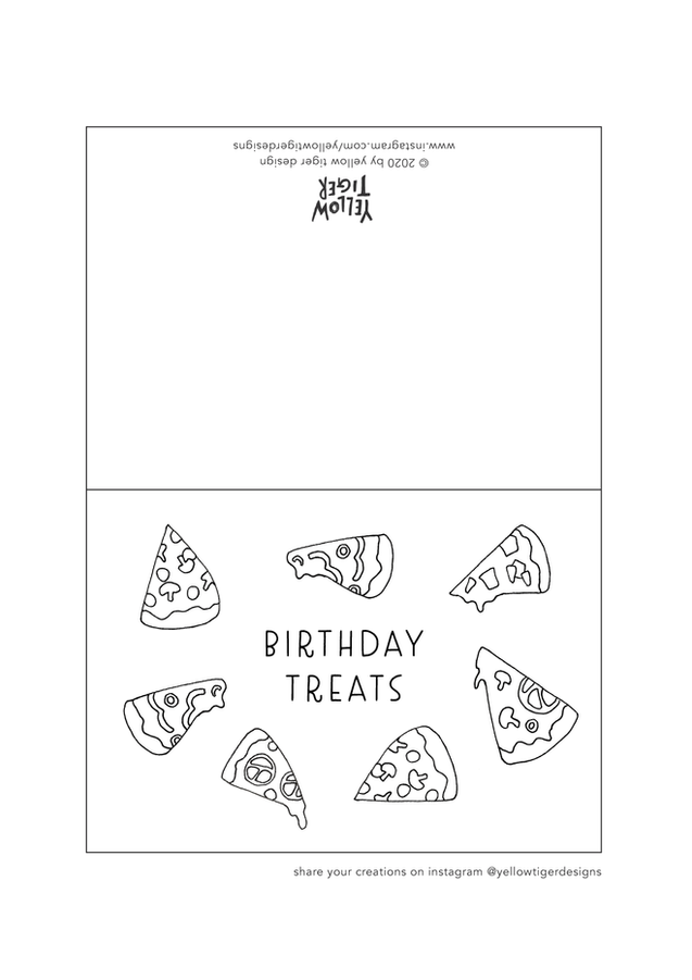 birthday pizza colouring sheet