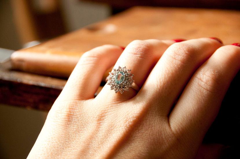 Blue topaz & diamond cocktail ring