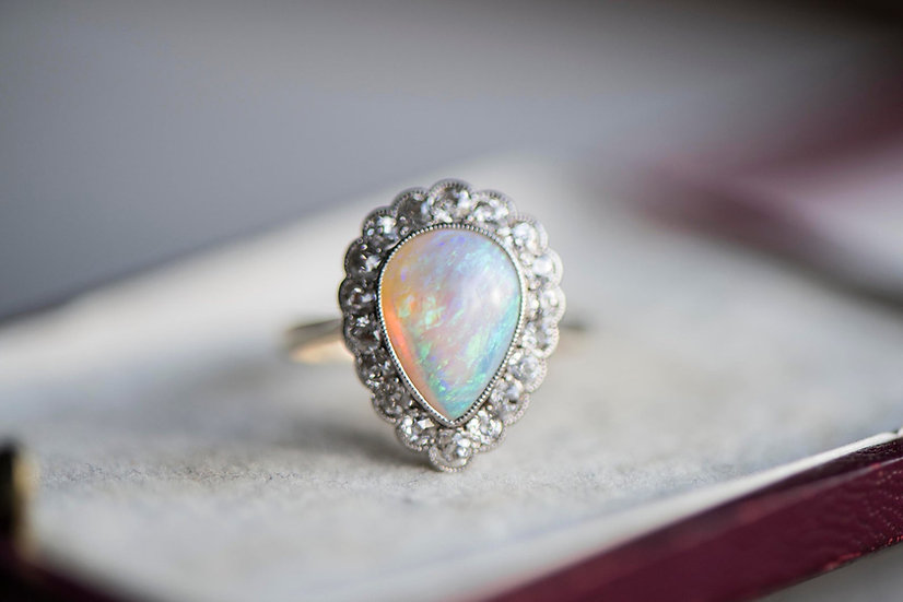 RESERVED for Tes - Vintage opal diamond ring, gold engagement ring