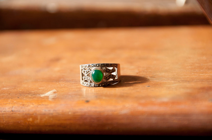 Chrysoprase & Marcasite ring - SOLD