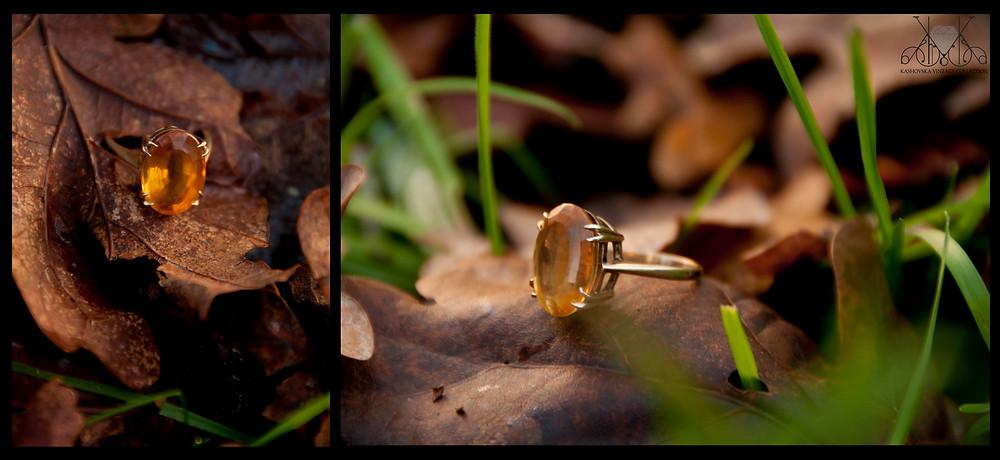 Gold ring with golden topaz gem stone.