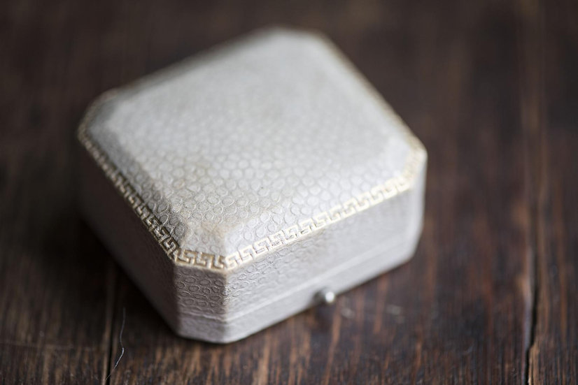 Vintage cream ring box, animal skin imitation leatherette jewellery box