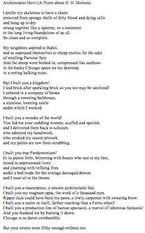 """The Architectural Devil (A Poem About H. H. Holmes)"""