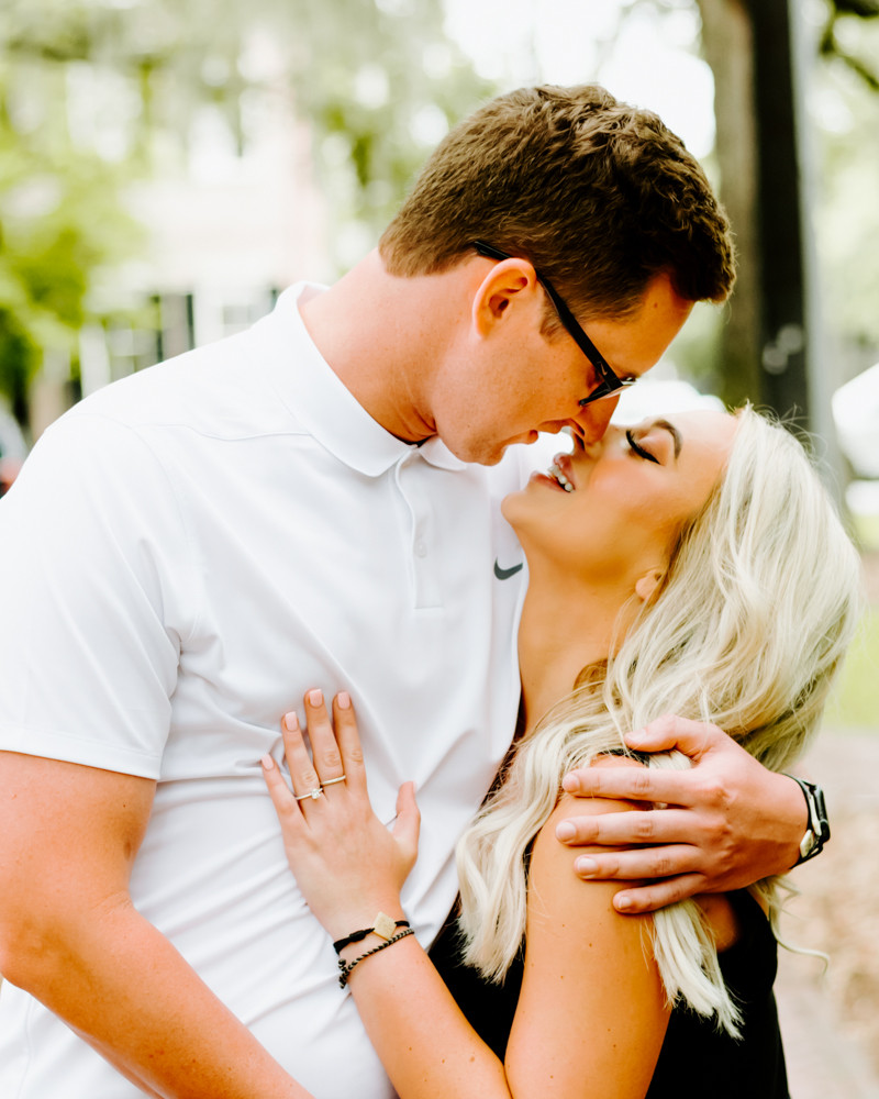 Savannah Georgia Couple in Lafayette Square