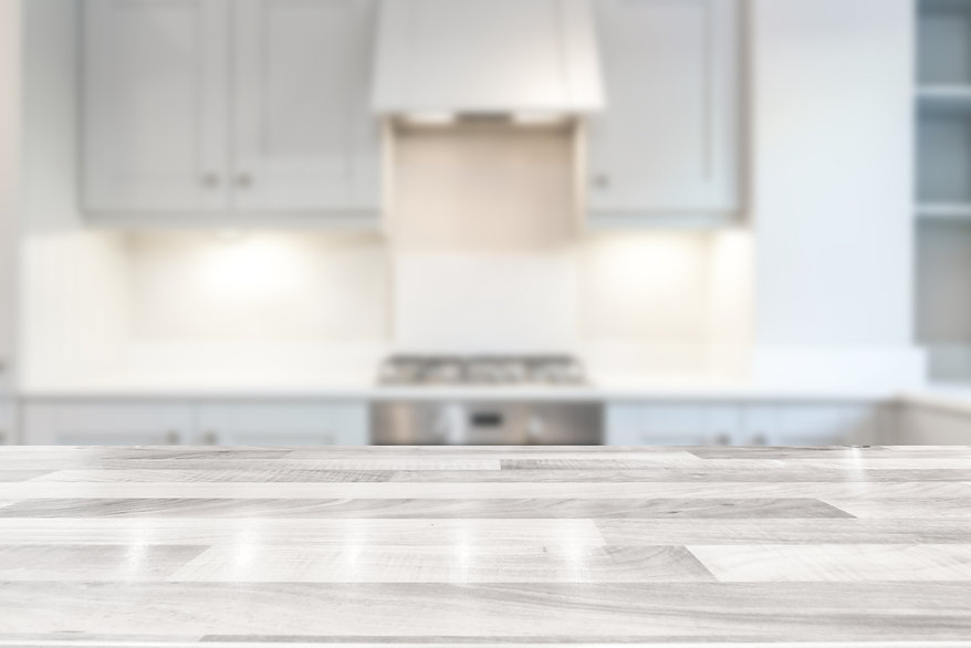 Modern bright kitchen with a white woode
