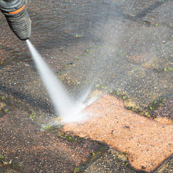 Powerwashed Patio Bricks in Mashpee