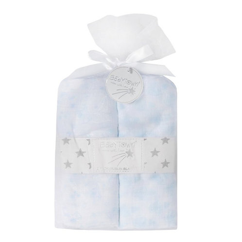 2 Muslin Squares 76x76cm White and Blue