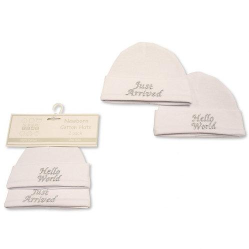 Hello World / Just Arrived Newborn Hats 2 Pack