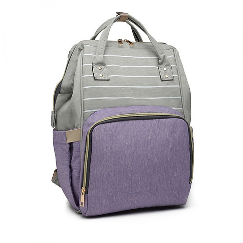 Grey and Lilac Changing Backpack